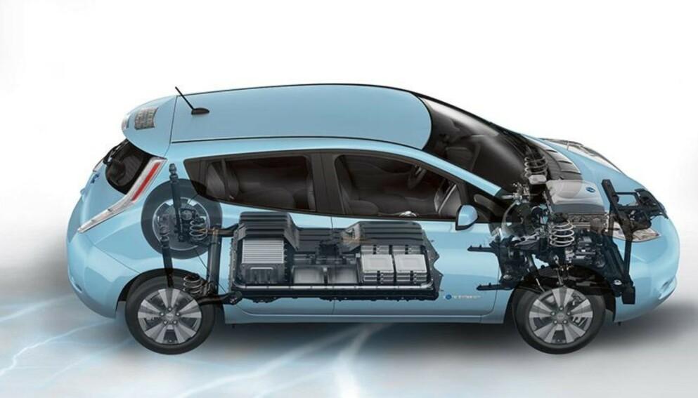 10 ÅR PÅ VEIEN: Nissan Leaf var verdens første masseproduserte elbil, og behovet for å kunne håndtere batteriene på en forsvarlig måte og gjenvinne mest mulig, blir svært viktig når de første elbilene nå nærmer seg «end of life»-fasen. Foto: Nissan