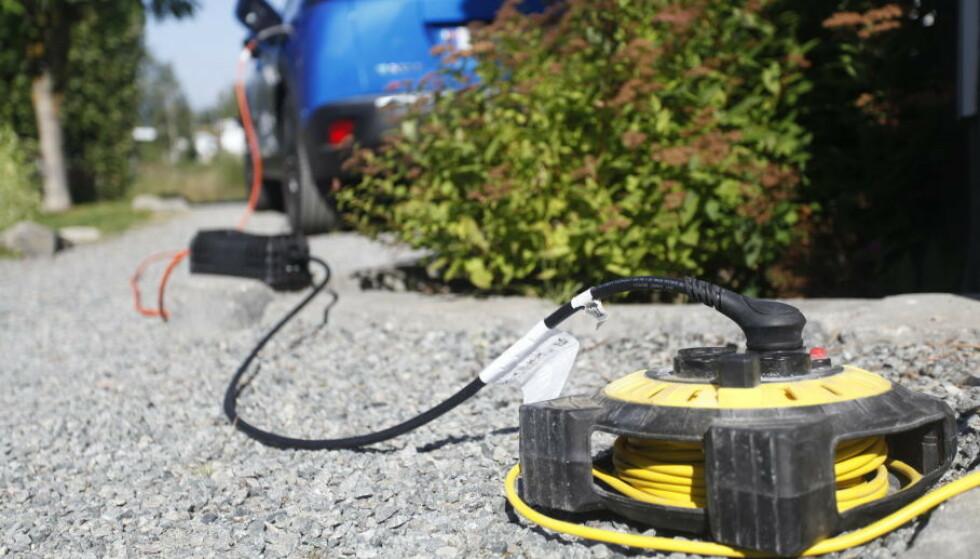 FY FY: Skjøteledning skal aldri brukes til lading av elbilbatteriet. Foto: Øystein Fossum