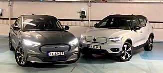 DUELL: Ford Mustang Mach-E mot elektrisk Volvo XC40