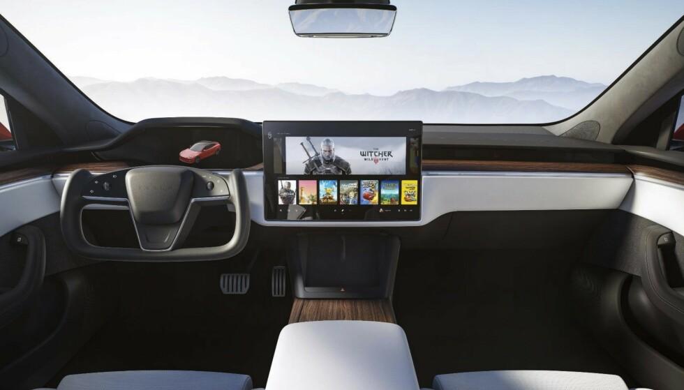 Kommer i år: Slik presenterer Tesla interiøret i nye Model S. Illustrasjon: Tesla