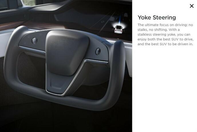 Fra Teslas forhåndsomtale av den nye styreinnretningen som de har kalt Yoke Steering. (skjermdump)