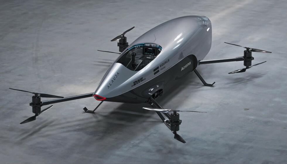 BILBYTTE: Snart kan bilen i garasjen byttes ut med en slik flygende bil, i følge produsenten Alauda. Foto: Alauda