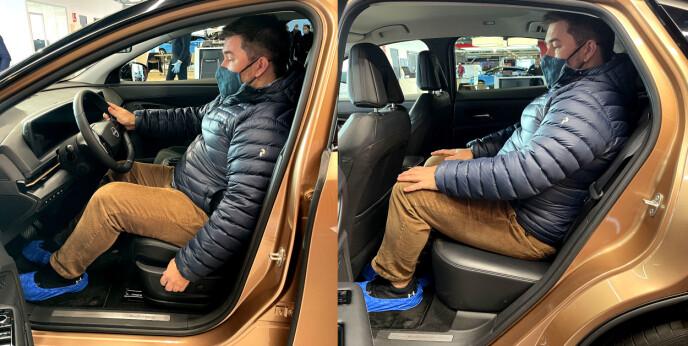GOD PLASS: Både foran og bak er det god plass til storvokste passasjerer. Foto: Bjørn Eirik Loftås