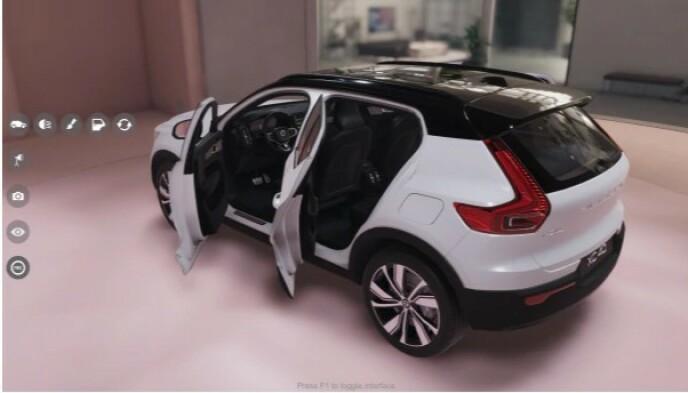 3D-MODELL: Utviklere kan bruke en 3D-modell av XC40 Recharge, for eksempel til å illustrere funksjoner i apper. Foto: Volvo
