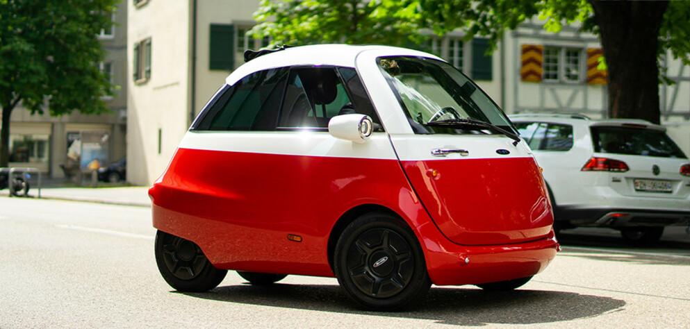 NÆRBIL: Små, billige elbiler egner seg bra til småkjøring. Dette er den første prototypen av den sveitsiske Microlino. Foto: Produsenten