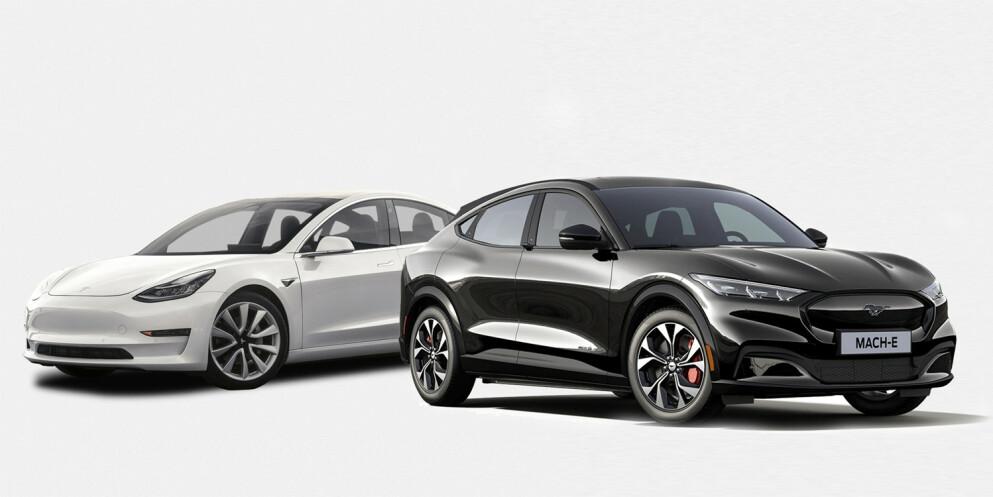 Stor forskjell: Tesla er nesten 5000 kroner dyrere å forsikre. Til tross for at Mustangen er 140 000 kroner dyrere i innkjøp. Foto: Produsentene