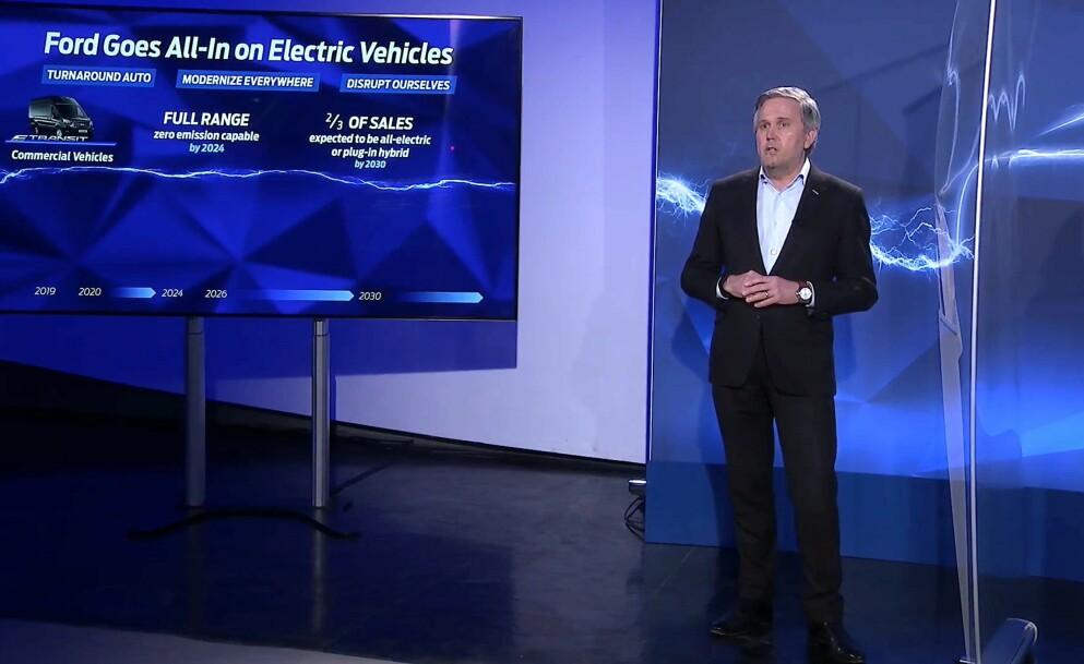 AMBISIØSE PLANER: Fords europasjef Sturt Rowley presenterte Fords planer i Europa onsdag. Skjermdump: Elbil24