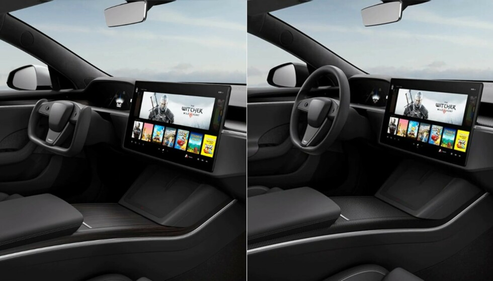 EN JOKE? Debatten rundt det nye Tesla-rattet (til venstre) raser videre.