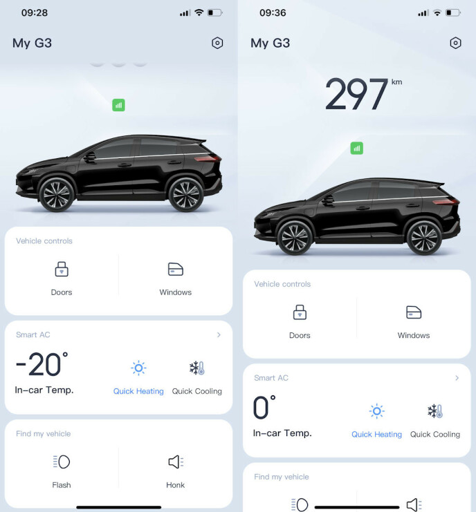 OVERSIKTLIG APP: Du kan åpne/lukke vinduer og dører, varme opp bilen og finne den ved hjelp av lys/horn. Du kan imidlertid ikke fjernstyre bilen eller sette tidspunkter for oppvarming, slik du kan med Teslas app.