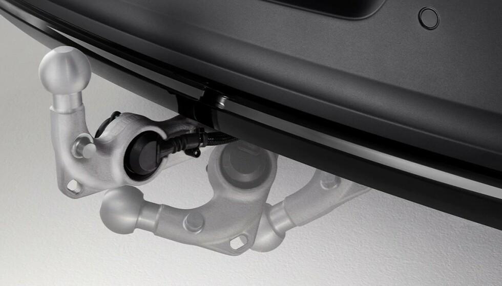 VOLVO XC40 RECHARGE PURE ELECTRIC: Volvos første helelektriske er blant modellene som har fått støtte for å dra henger. Her er hengefestet semi-elektrisk og innfellbart. Ilustrasjon: Volvo