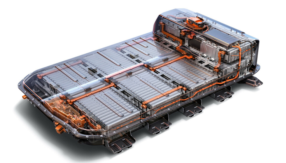 OPEL AMPERA-E: Slik ser et komplett batteri ut i en Ampera-e. Foto: GM