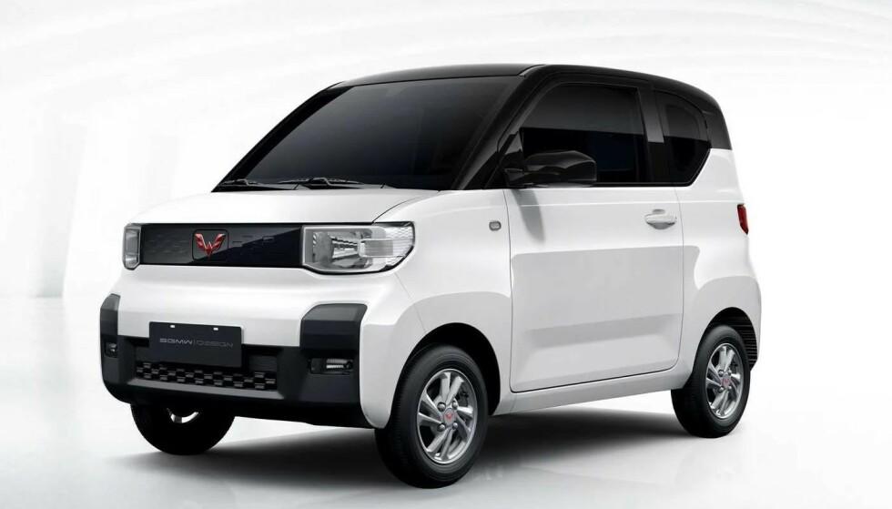 LITEN TASS: Denne lille elbilen ble verdens mest solgte i januar. Den har fire seter, kan kjøre i 100 kilometer i timen og koster 40.000 kroner. Foto: SGMW