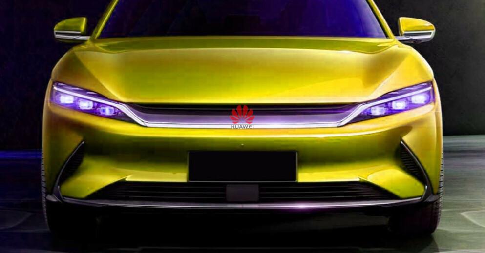 SELVKJØRENDE BILER: Snart vil det sannsynligvis dukke opp kinesiske biler med Huawei-logo (Bildet er manipulert)