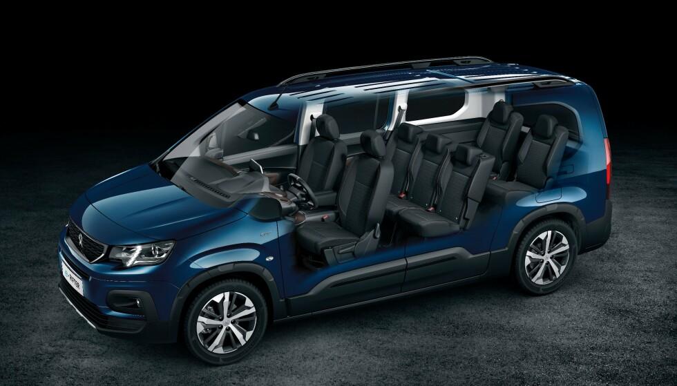 7-SETER: Bilene kommer med enten fem eller sju seter. Her Peugeot e-Rifter. Foto: PSA