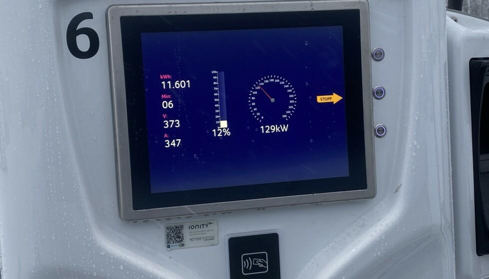 HØY FART: Allerede ved 12 % kunne laderen rapportere om en effekt på 129 kW. Foto: Fred Magne Skillebæk