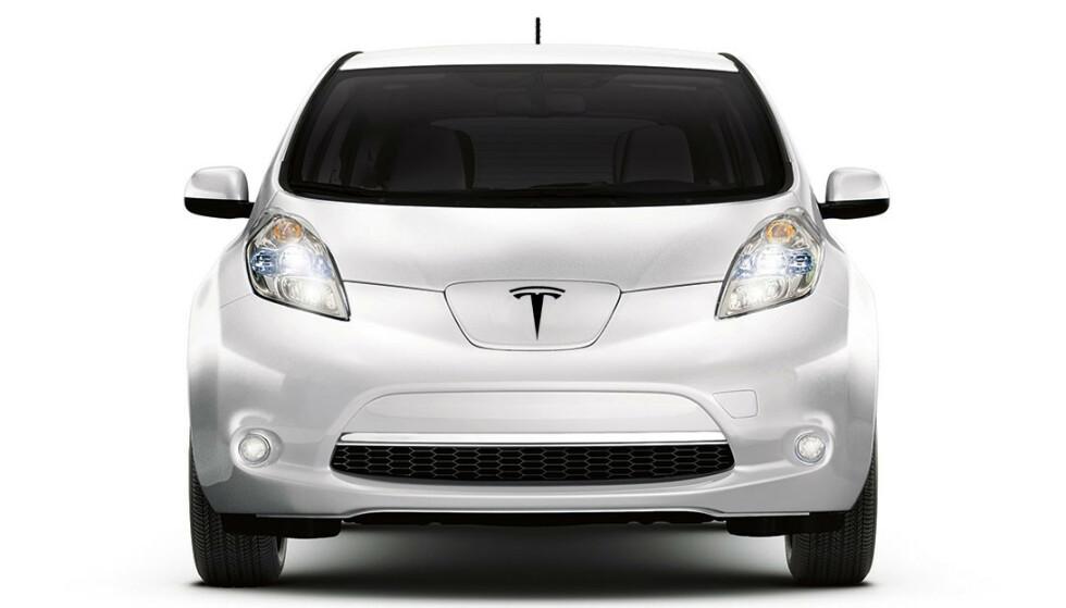 TESLA LEAF: Neida, det er ingen ny elbil-konstellasjon, men det finnes nå snart like mange Teslaer som Nissan Leaf i Norge. Manipulasjon: Elbil24