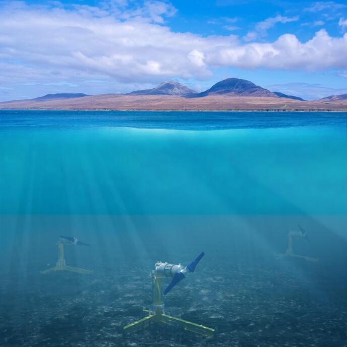 STÅR PÅ BUNNEN: Illustrasjonen viser tre tidevannsturbiner plassert på havbunnen. Ill: Nova Inoovation