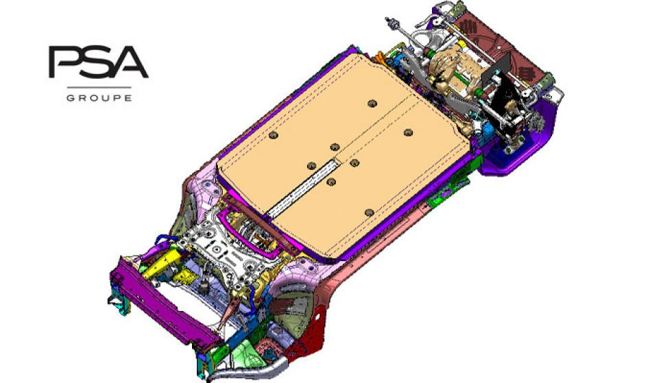 eVMP: Peugeot har allerede vist illustrasjoner av den nye eVMP-plattformen (electric Vehicle Modular Plattform). Illustrasjon: Peugeot
