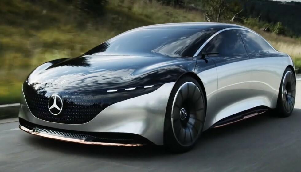 AERODYNAMISK: Konseptbilen av EQS er svært aerodynamisk i utformingen. 15. april får vi se hvordan produksjonsmodellen vil bli seende ut. Foto: Mercedes-Benz