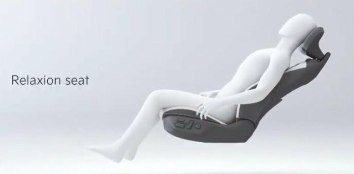 ZERO GRAVITY: Du kan vippe hele setet bakover, inkludert sitteputen - og dermed oppnå liggestol-stilling. Ill: Kia