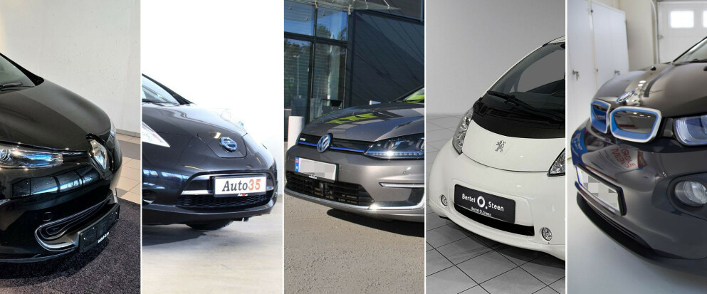 KLASSIKERE: Renault Zoe, Nissan Leaf, Volkswagen e-Golf, Peugeot Ion og BMW i3 finner du mange av i prisklassen 80-100.000 kroner. Enkelte er bare to år gamle og har kun rullet noen få tusen kilometer på veiene. Montasje: Elbil24