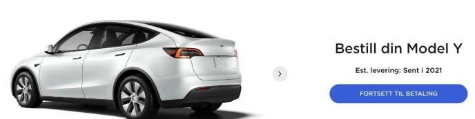 Meldingen er nå at estimert levering blir sent i 2021. Skjermdump: Tesla