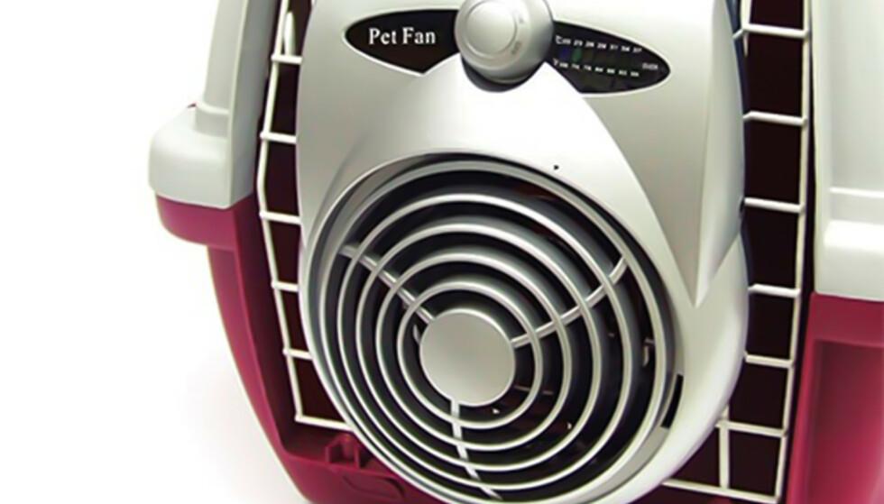 Vifte: En vifte som settes på buret gir kjølig og frisk luft til hunden. Crate Fan burvifte kr 349, buddy.no