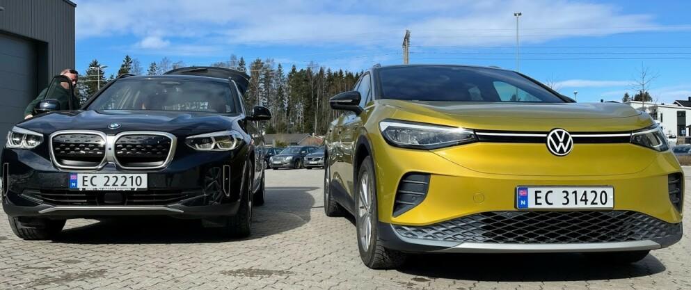 KRAFTIG ØKNING: Salget av nye elbiler øker kraftig. Volkswagen ID.4 (til høyre) ble salgsvinneren i april. Det høye salget av elbiler er en utfordring, mener NAF. Foto: Bjørn Eirik Loftås