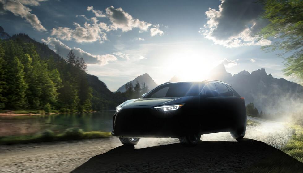 DELVIS SKJULT: Dette er det første offisielle bildet Subaru har sluppet av Solterra, som blir en SUV med høy bakkeklaring og sannsynligvis drift på alle fire hjul. Foto: Subaru