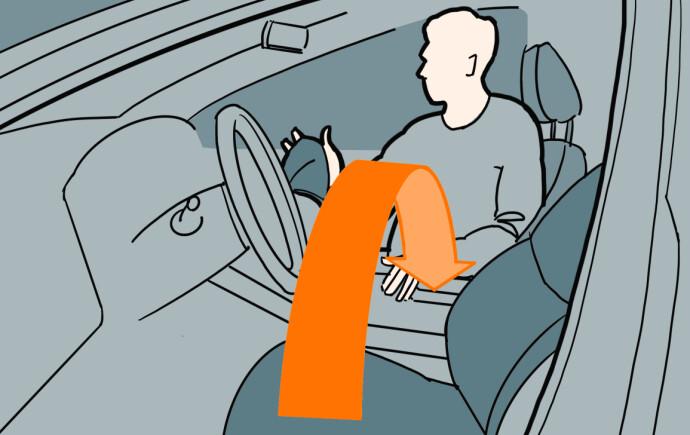 Bytt sete: Du kommer bedre til om du seter deg i passasjersetet når du skal vaske. Illustrasjon: Øivind Lie-Jacobsen