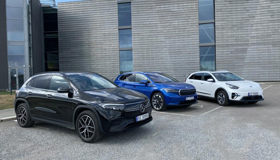 3 x E: EQA, Enyaq, eller e-Niro? Bilene er tilnærmet like store, og alle går langt. Foto: Fred Magne Skillebæk