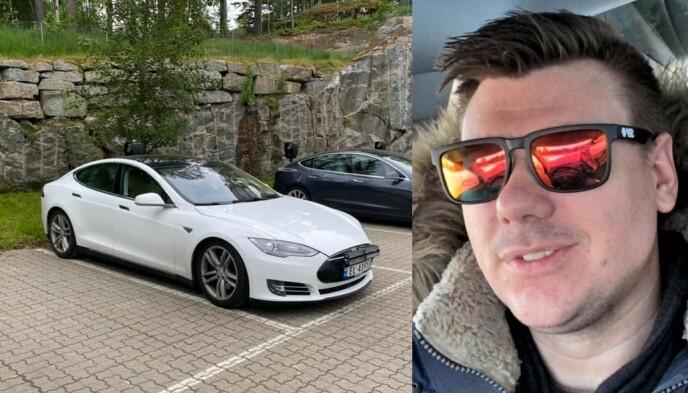 BILEN: Det var denne Tesla Model S 85, som ble stjålet fra Gran på Hadeland, natt til torsdag 9. juni. Foto: Privat