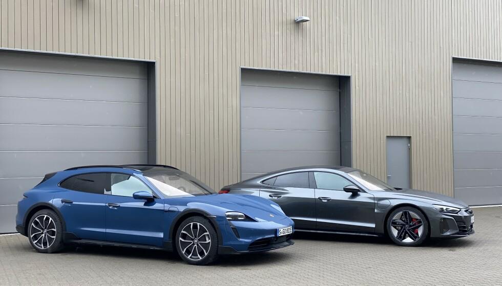 ELBIL24-GARASJEN: Vi lot Porsche Taycan Cross Tursmo få møte Audi RS-etron GT. Foto: Fred Magne Skillebæk