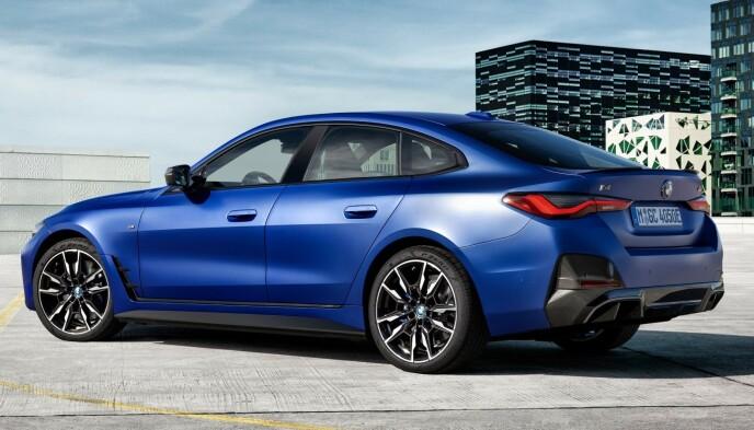 BMW i4 M50: El-versjonen er en firedørs Grand Tourer, men har stor bakluke. Foto: BMW