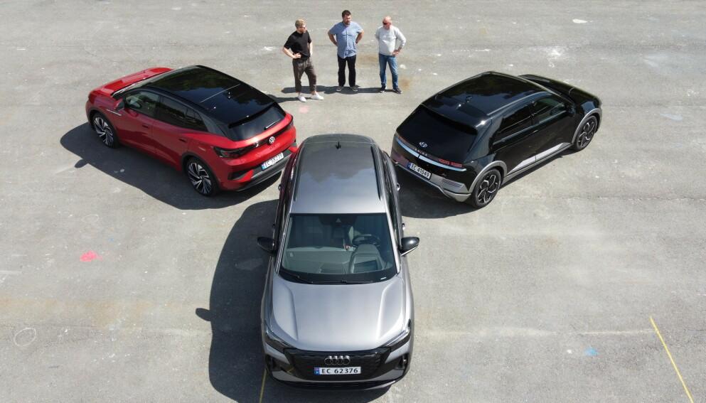 TRE UTFORDRERE: Alle tre er nykommere, og erklærte storselgere. Audi Q4, VW ID.4 eller Ioniq 5? Foto: Fred Magne Skillebæk
