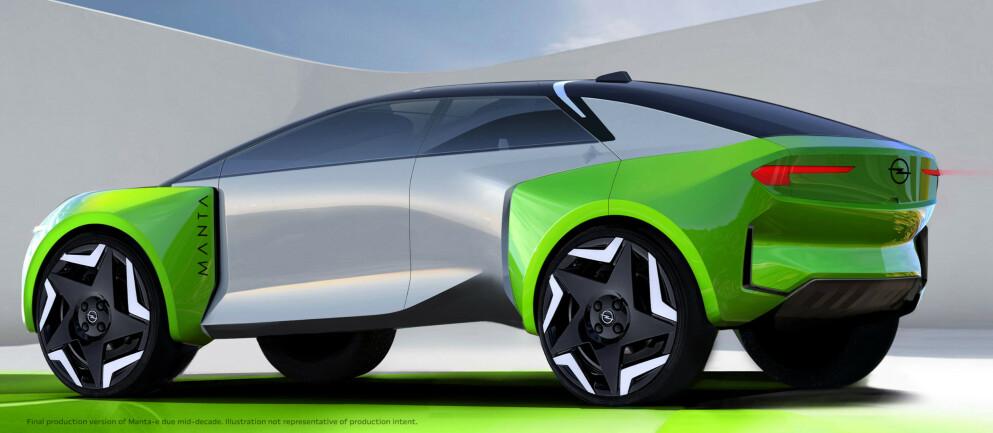 SKISSE: Opel har foreløpig kun vist fram en skisse av Manta-e, men er klare på at den neppe blir seende slik ut. Illustrasjon: Opel