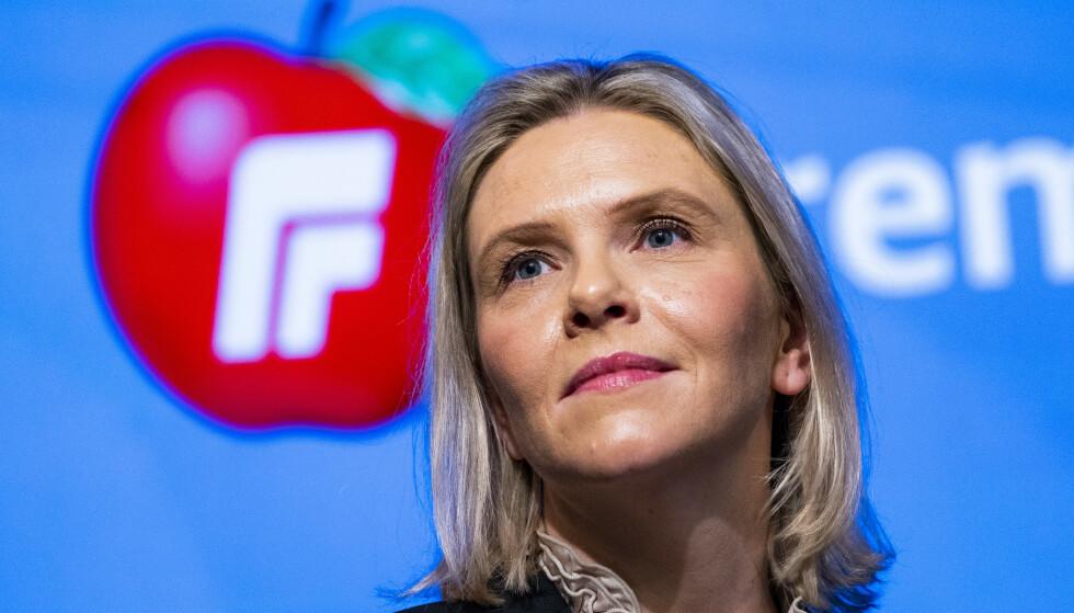 Frp-leder Sylvi Listhaug har lite til overs for EUs ønske om å fase ut fossilbiler. Foto: Håkon Mosvold Larsen / NTB