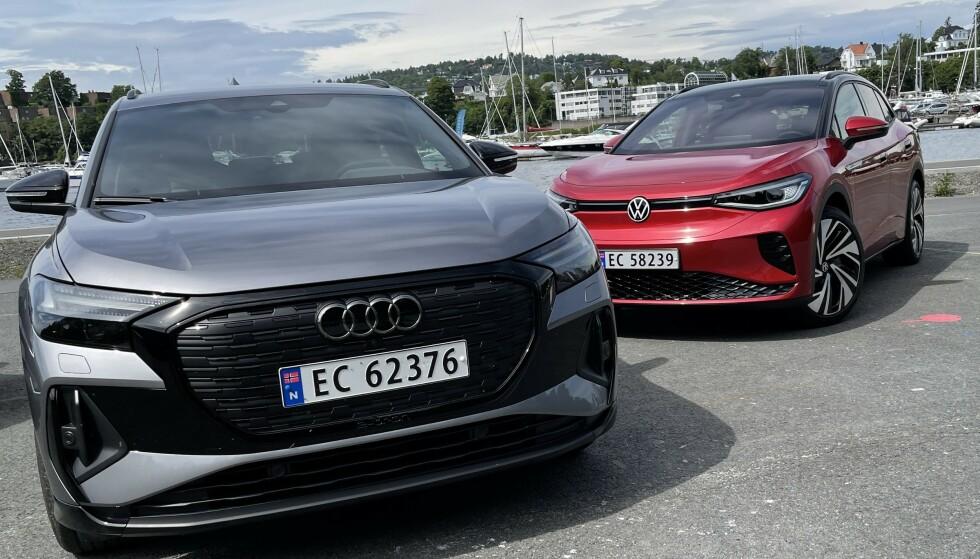 POPULÆRE: Audi Q4 e-tron og Volkswagen ID.4 har bidratt til å løfte elbilsalget til Europas største bilprodusent. Foto: Bjørn Eirik Loftås