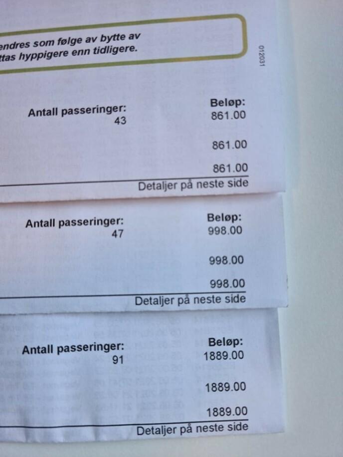 TRE FAKTURAER: På kort tid fikk Jan-Erik tre fakturaer fra bomselskapet. Foto: Privart