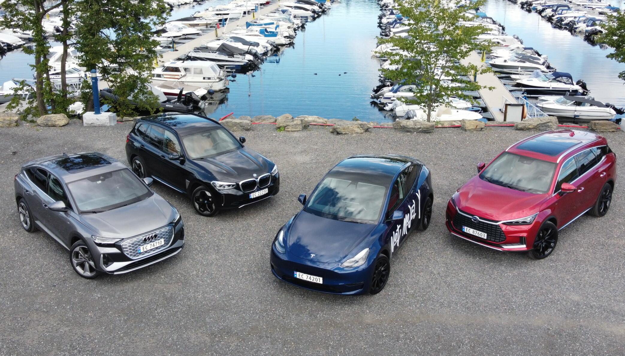 FIRE ELEKTRISKE SUV: Og de er alle nye på markedet. Foto: Fred Magne Skillebæk