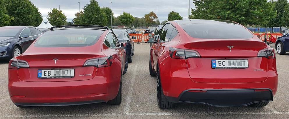 SØSKEN: To biler som selger bøtter og spann om dagen. I denne saken har vi trukket fram forskjeller og likheter mellom Tesla Model 3 og Tesla Model Y. Foto: Ernst Larsen