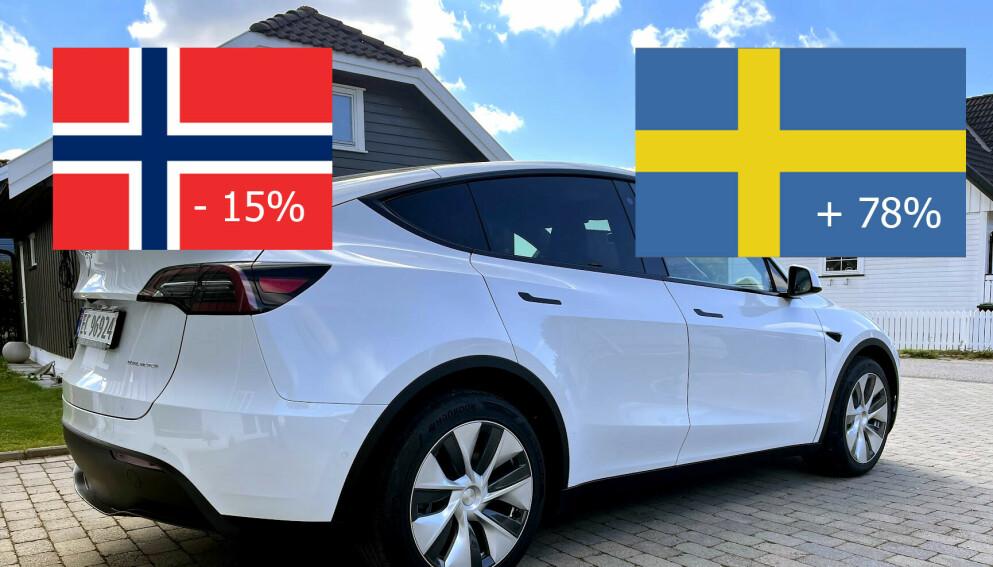 ANNERLEDESLANDET: Norske elbilpriser er lave i forhold til i Sverige. Sjekk prisforskjellene på Model Y og flere andre populære modeller lenger ned i saken. Illustrasjon: Bjørn Eirik Loftås