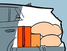 Rekkefølge: Den tyngste bagasjen stroppes fast på gulvet lengst frem mot seteryggen. Ikke pakk høyere enn nakkestøttene på baksetene. Illustrasjon: Øivind Lie-Jacobsen