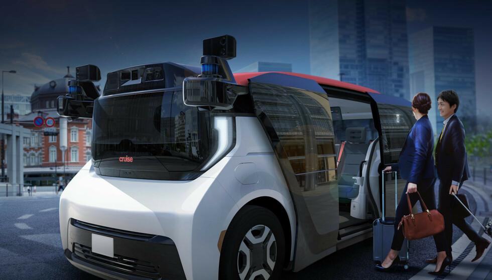 MINIBUSS: Honda Origin er utviklet i samarbeid med General Motors, og er en førerløs buss som kan bli å se på veiene i fremtiden. Illustrasjon: Honda